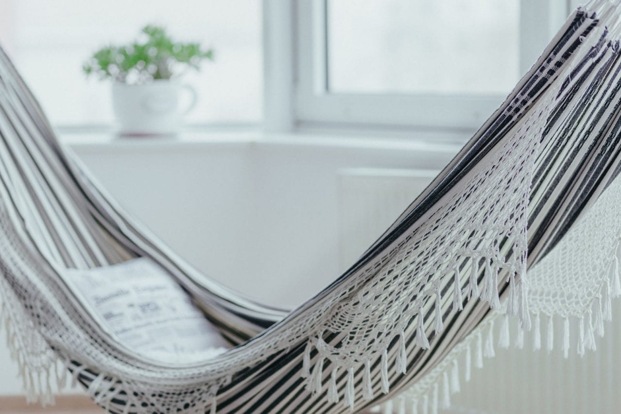 Hangmat met franjes binnen