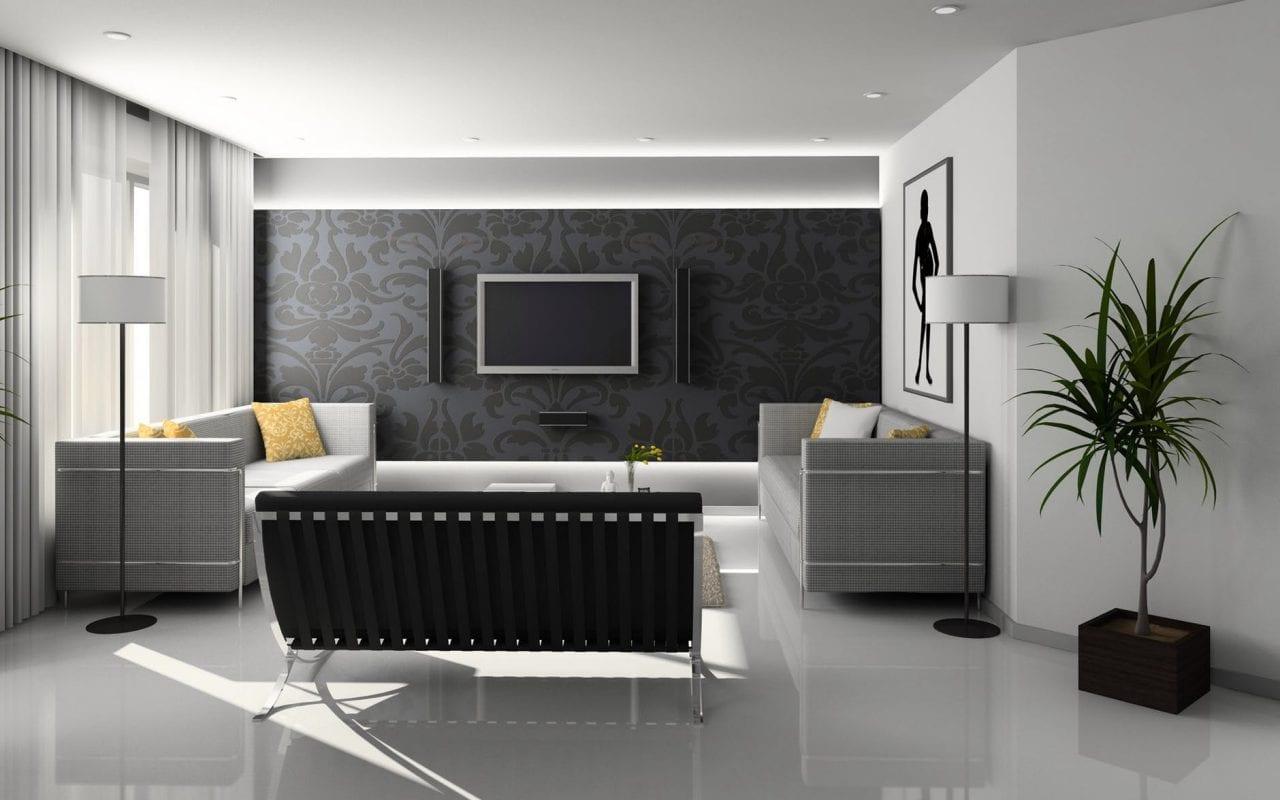 Moderne zwart-witte huiskamer