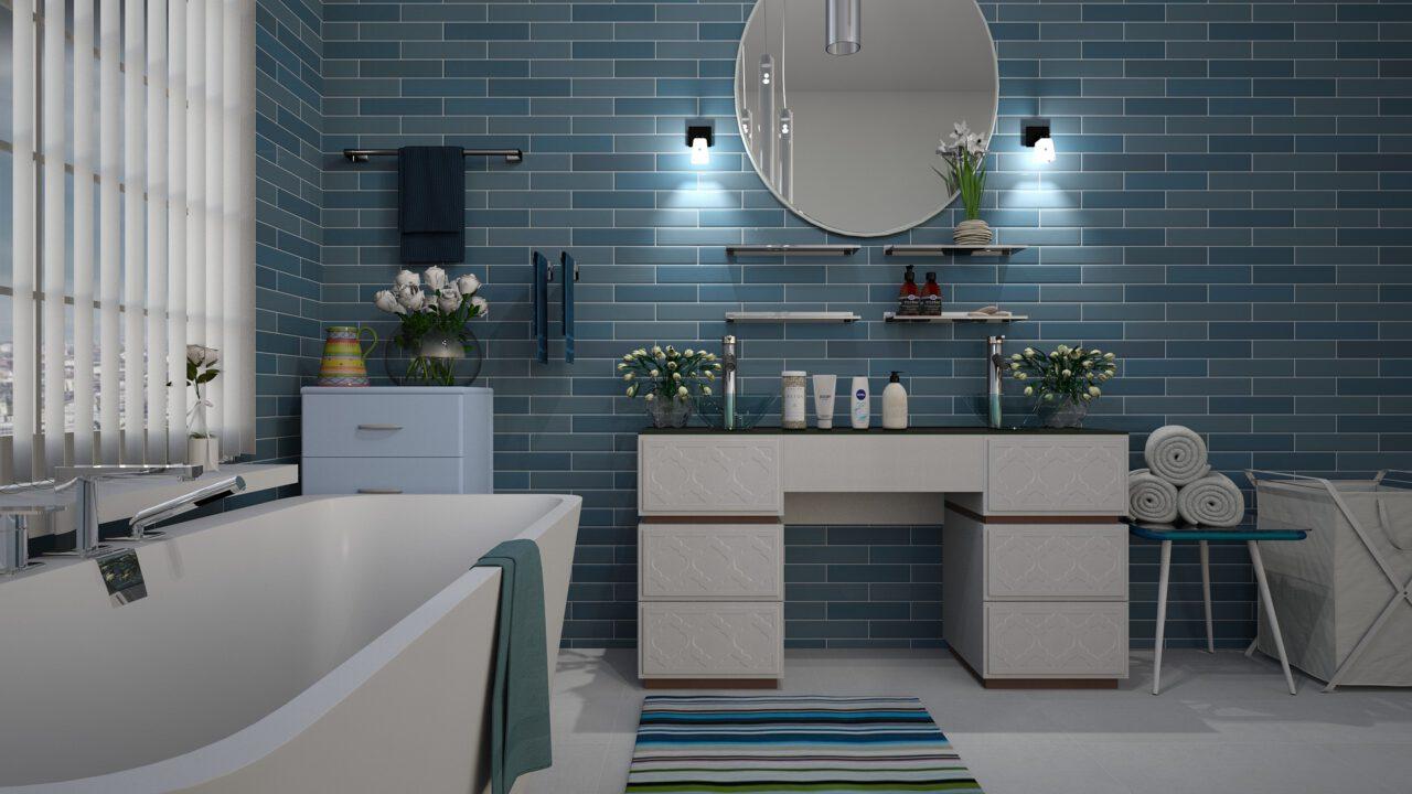 Moderne blauwe badkamer