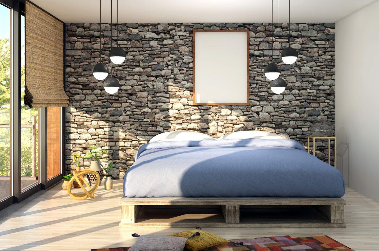 Moderne slaapkamer met kiezelstenen
